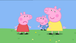 Peppa, not very happy with Chloé