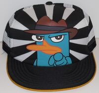 Agent P pointing on striped background adult baseball cap