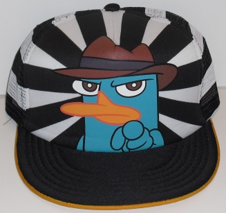 File:Agent P pointing on striped background adult baseball cap.jpg
