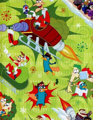 File:Phineas and Ferb Christmas wrapping paper 2013 - green.jpg