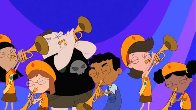 File:Buford, Baljeet and Fireside Girls playing trumpets.jpg