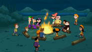 Campers regroup at the campfire