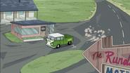 Doof drives over