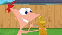 Phineas offer Isabella some honey.jpg