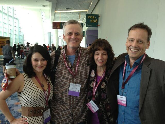 File:Dee Baker w Romi Dames, Rob Paulsen & Cynthia McLean.jpg