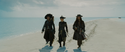 Barbossa, Elizabeth and Jack during the parlay