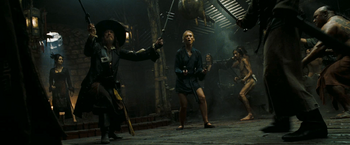 Barbossa and Elizabeth facing the Chinese
