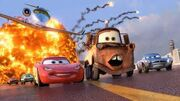 Mater and Mcqueen running in cars 2