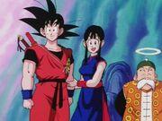 Goku Chichi i stary Gohan niedaleko paleniska.jpg