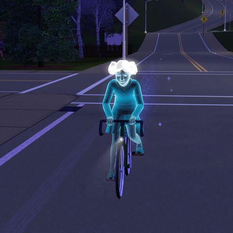 Opal jadąca rowerem