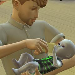 Zdjęcie Sima z nowo narodzonym synem