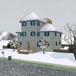 Dom Sęków zimą