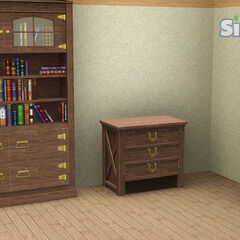 Półki na ksiażki i szafka.