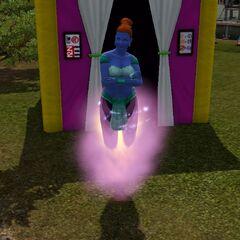 Dżinka unosząca się na fioletowym dymku