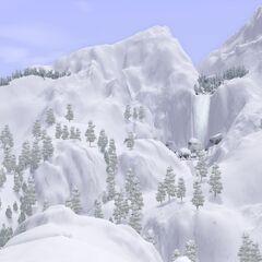 Widok na wodospad w Sunset Valley zimą