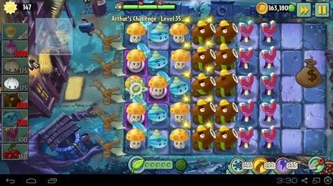 Arthur's Challenge Level 31 to 35 Plants vs Zombies 2 Dark Ages