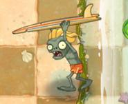 Surfer on land