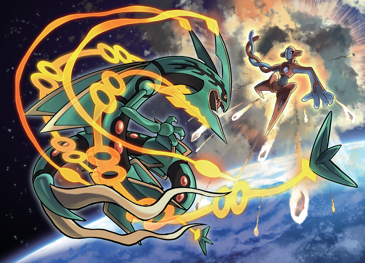 Pokemon coloring pages mega rayquaza - Pok Mon Oras Mega Rayquaza Vs Deoxys