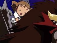 Molly Hale riding on Entei