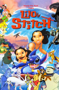 Winnie the Pooh meets Lilo and Stitch poster
