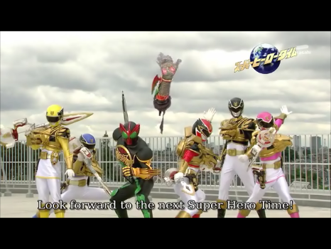 File:Kamen Rider OOO & Goseigers.png