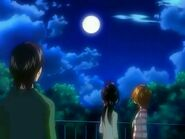 Saki, Mai and Kazuya contemplating the Moon