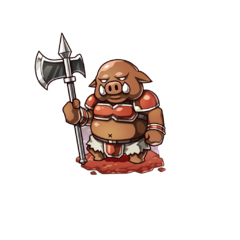 An Orc soldier with a halberd in the mobile game