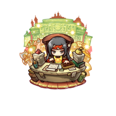 Sumeragi as a Shop Manager in the mobile game