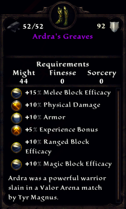 Ardra's Greaves Inventory