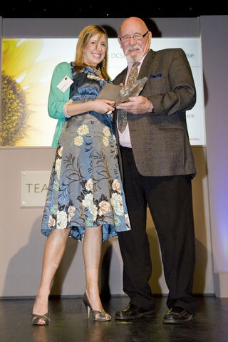 File:Laura Johnston with Presenter Brian Jacques.jpg
