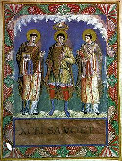 File:Karl 1 mit papst gelasius gregor1 sacramentar v karl d kahlen.jpg