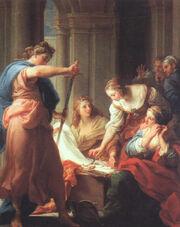 Batoni, Pompeo ~ Achilles at the Court of Lycomedes, 1745, oil on canvas, Galleria degli Uffizi, Florence