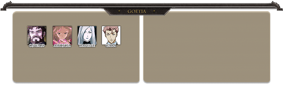 Menu panel goetia