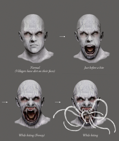File:Resident Evil 4 Digital Archives - Las Plagas Face Variations.png