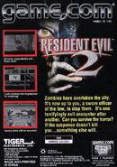 Resident Evil 2 - Game.com back cover
