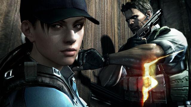 File:Resident Evil 5 - Jill and Chris outside the Spencer Estate wallpaper.jpg