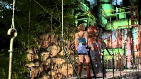 Resident Evil 3 Nemesis cutscenes - Nemesis on the bridge (Push him off)