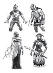Resident Evil 4 Digital Archives - Ganados - Initial Concepts - Female Veiled Zealots - P.61