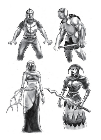 File:Resident Evil 4 Digital Archives - Ganados - Initial Concepts - Female Veiled Zealots - P.61.png