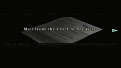 Resident Evil files - Mail from the Chief of Security page 1