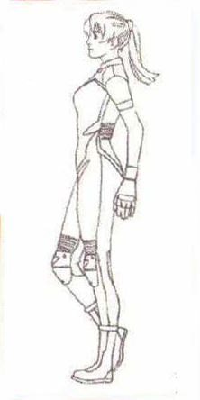 File:BIOHAZARD 1.5 concept artwork - Elza Walker final standard outfit design line art 1 side.png