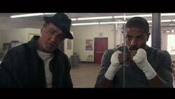 Rocky training Adonis Creed