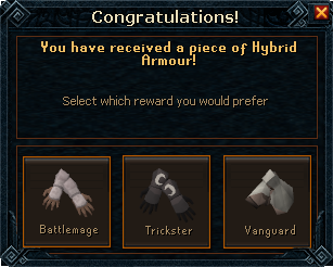Hybrid gloves selection interface