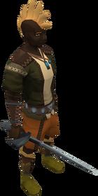 Gorgonite rapier equipped