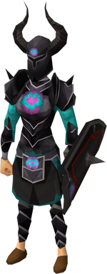 Black heraldic armour set 1 (sk) equipped