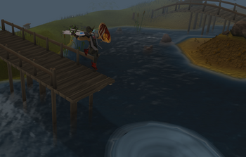 Player jumping in whirlpool