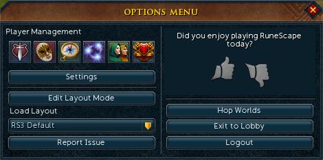 Options menu