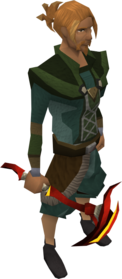 Gilded dragon pickaxe equipped