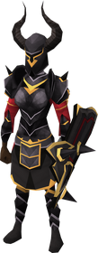 Black gold-trimmed armour set (sk) equipped