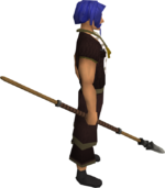 Iron spear equipped